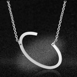 NWT Stainless Steel Pendant Letter C Necklace
